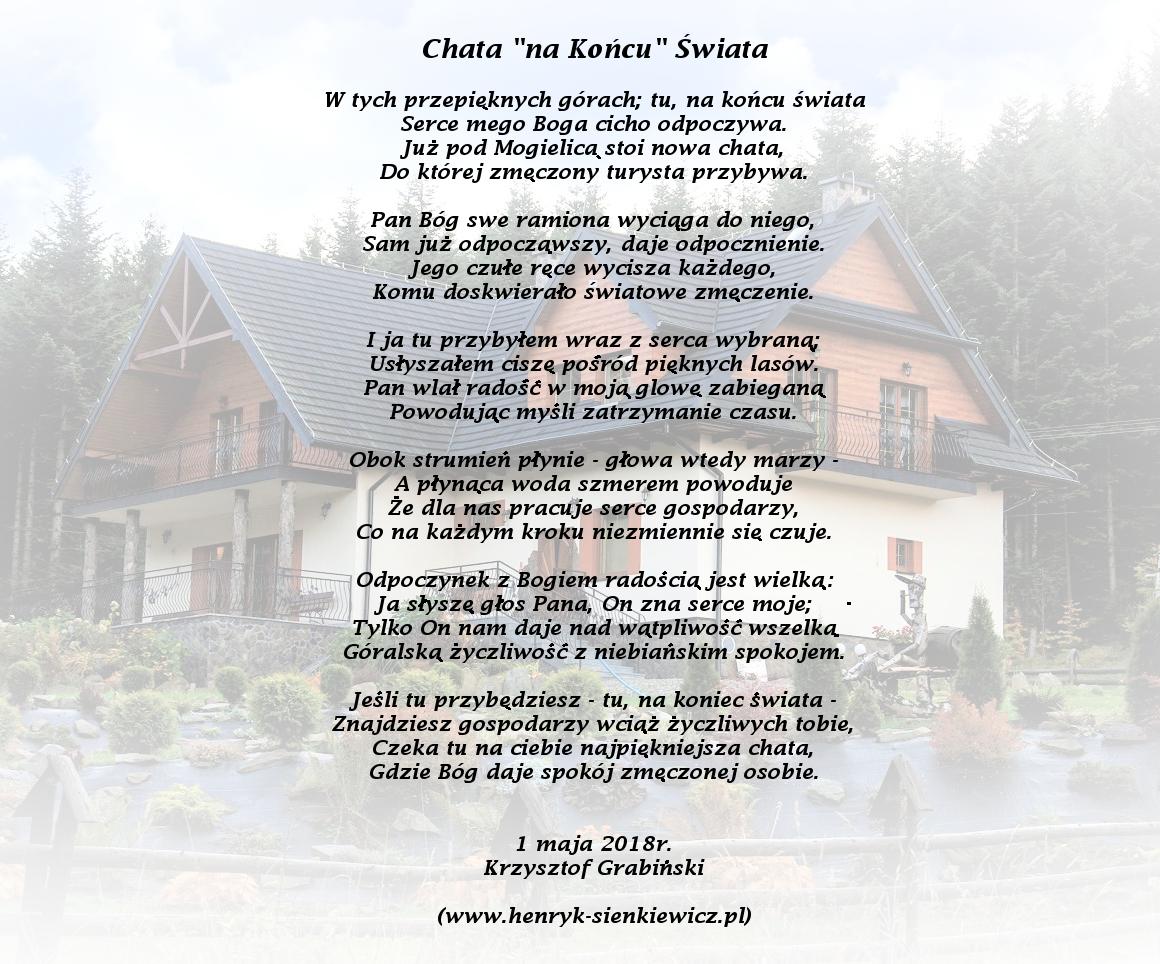 Piękny Wiersz Od Jednego Z Gości Chata Na Końcu świata